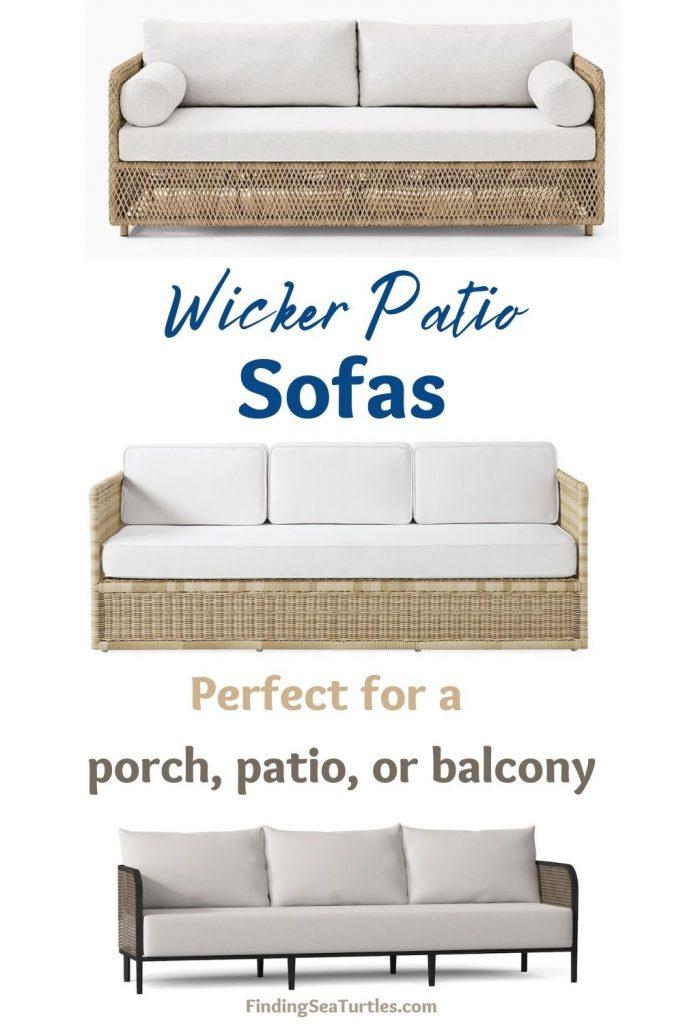 Wicker Patio Sofas Perfect for a porch, patio, or balcony #Coastal #WickerPatioSofas #CoastalSofas #PatioSofas #WickerSofas #Patio #Porch #Deck #Terrace #OutdoorSofas #OutdoorSpaces #CoastalDecor #HomeDecor #CoastalHomeDecor #CoastalHome #CoastalLiving #BeachHouse #SeasideStyle #LakeHouse #SummerHouse