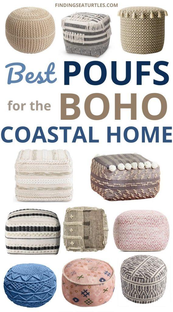 Best POUFS for the Boho Coastal Home #Poufs #Ottomans #Boho #CoastalDecor #HomeDecor