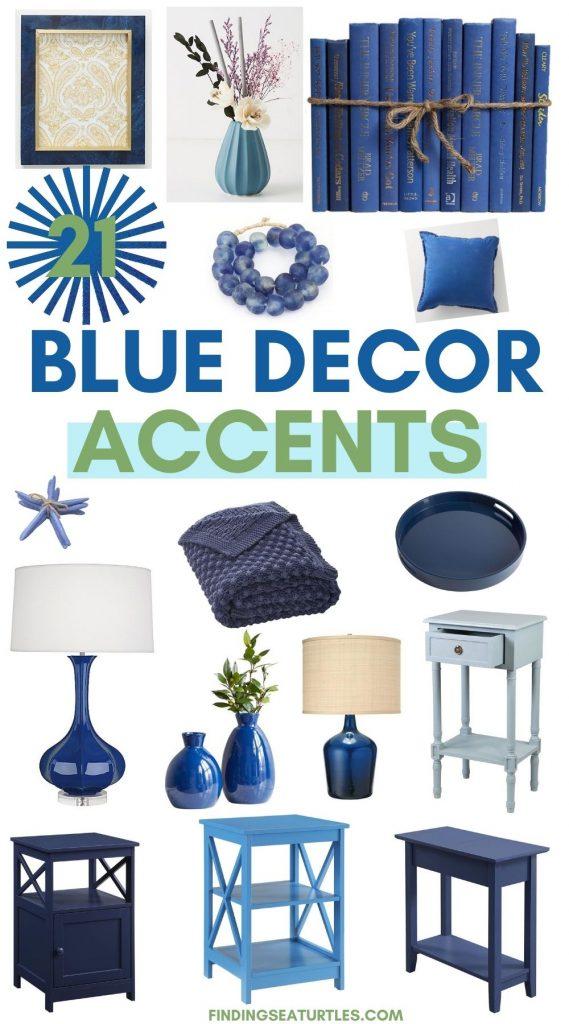 21 Blue Decor Accents #BlueAccents #BlueGreenInteriors #Coastal #CoastalHomeDecor #HomeDecor #LivingRoomDecor