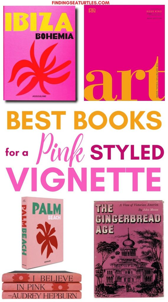 Best Books for a Pink Styled Vignette #Pink #PinkBooks #Coastal #CoastalPinkDecor #CoastalDecor #HomeDecor #LivingRoomDecor