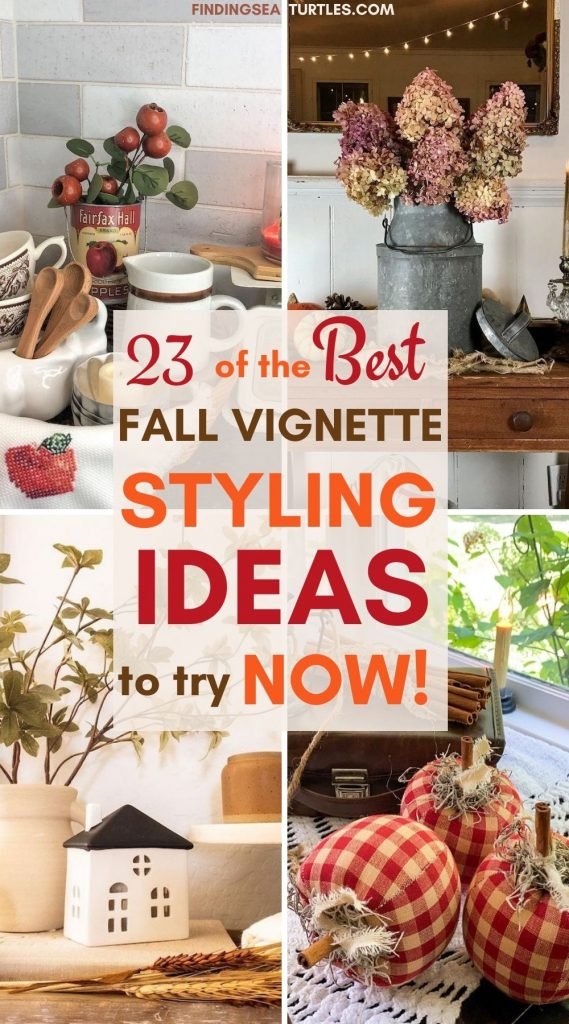 23 of the Best FALL Vignette Styling Ideas to try Now #Fall #FallVignettes #FallDecor #FallTableStyling #HomeDecor #AutumnDecor