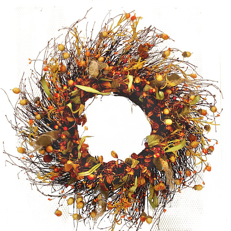 Welcoming Fall-inspired entryway ideas Fall Acorn Twig Wreath #Fall #Entryway #Foyer #FallEntryway #FallDecor #HomeDecor #AutumnDecor