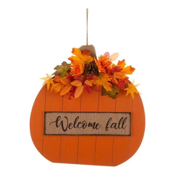 Fall Wooden Pumpkin with Floral Standing Home Depot #Fall #HomeDecor #Harvest #AutumnDecor #Pumpkins