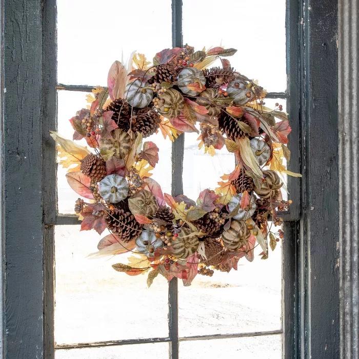 Farmhouse Autumn Wreath Target #Fall #HomeDecor #Harvest #AutumnDecor #Pumpkins
