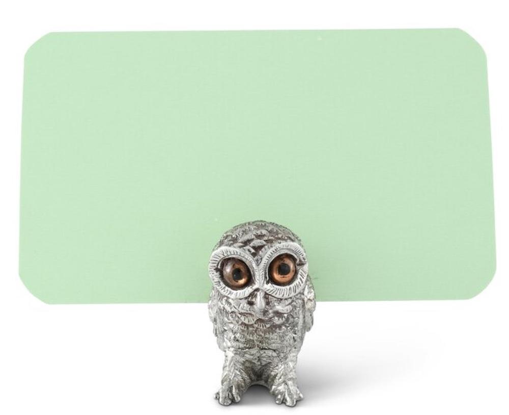 Harvest Pewter Owl Place Card Holder #Fall #HomeDecor #Harvest #AutumnDecor #Pumpkins