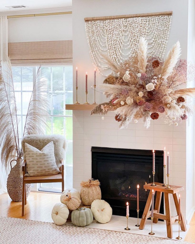 Fall Mantel Styling Ideas In 14 #Fall #FallMantel #FallDecor #HomeDecor #AutumnDecor