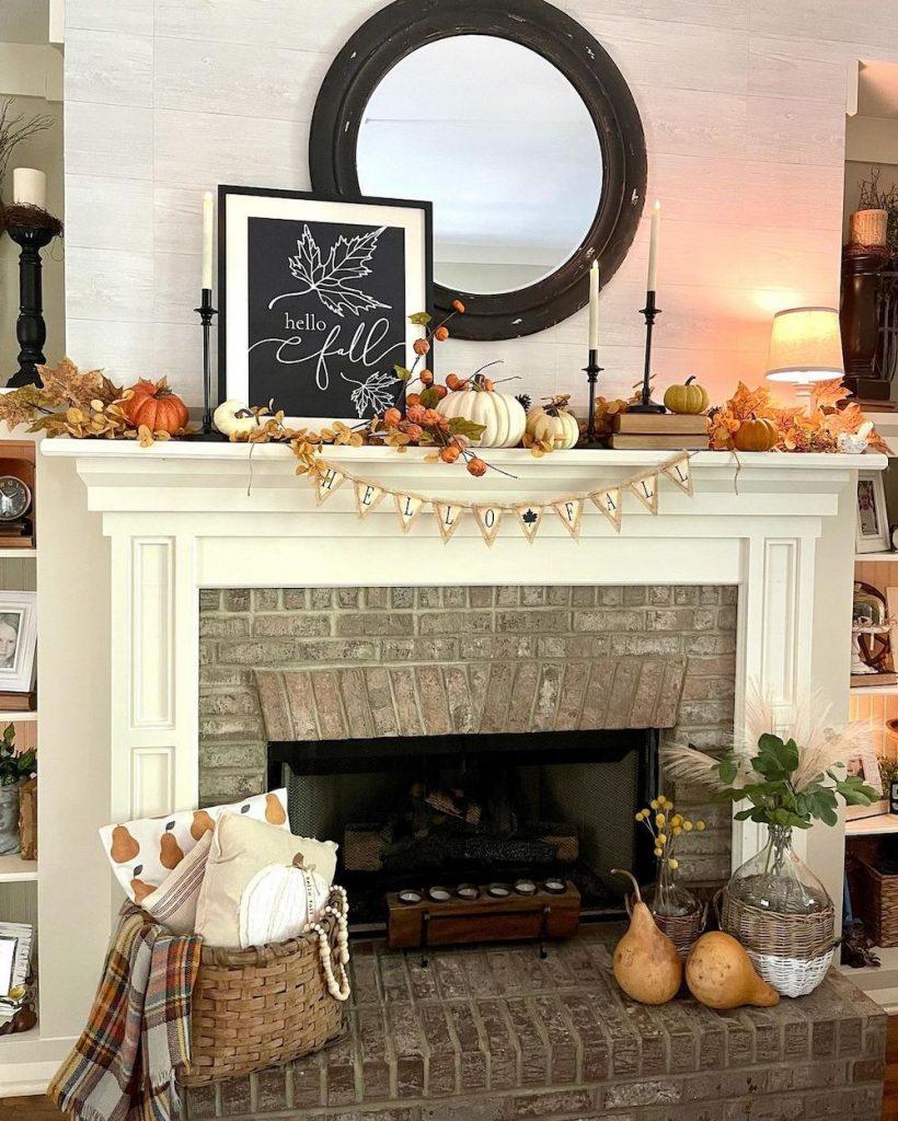 Fall Mantel Styling Ideas In 16 #Fall #FallMantel #FallDecor #HomeDecor #AutumnDecor