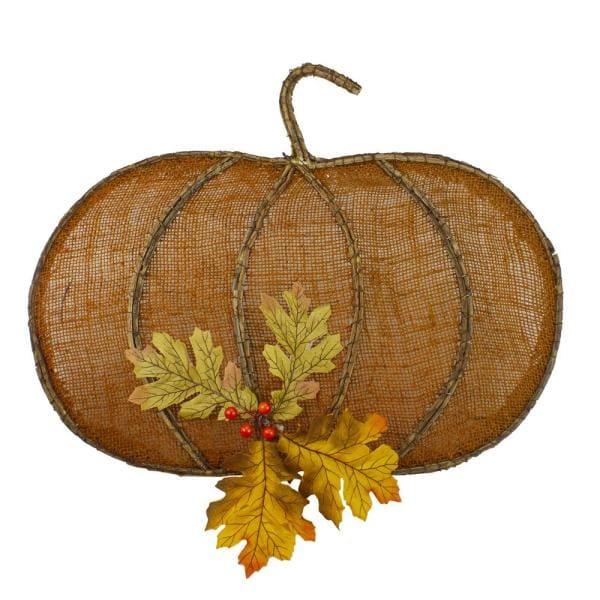 Orange Burlap and Vine Pumpkin Fall Hanging Home Depot #Fall #HomeDecor #Harvest #AutumnDecor #Pumpkins
