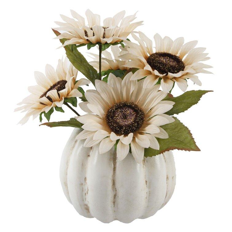 Fall Home Decor Sunflower Floral Arrangement in Pumpkin Pot Wayfair #Fall #HomeDecor #Harvest #AutumnDecor #Pumpkins