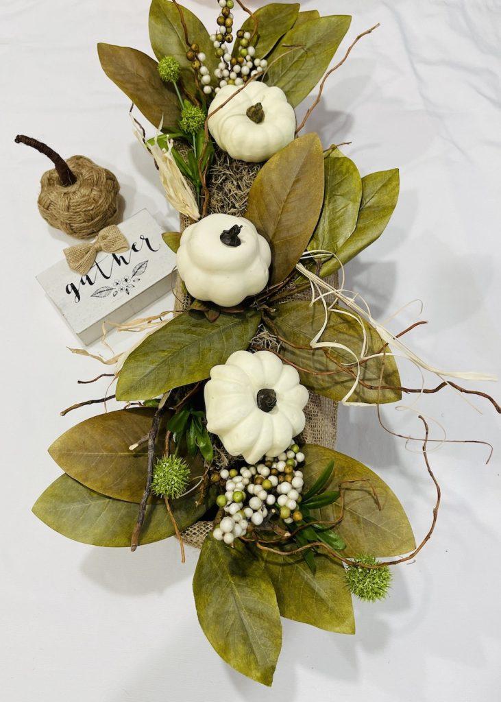 Trio of White Pumpkins Centerpiece_1732 #DIY #Fall #FallCenterpiece #HomeDecor #TableStyling #Autumn