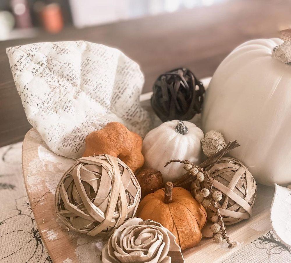 In 15 2 #Fall #HomeDecor #WoodenDoughBowls #DoughBowls #FallCenterpiece #AutumnDecor