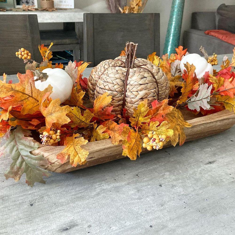 Decorative Wood Weston Dough Bowl In 7 #Fall #HomeDecor #WoodenDoughBowls #DoughBowls #FallCenterpiece #AutumnDecor