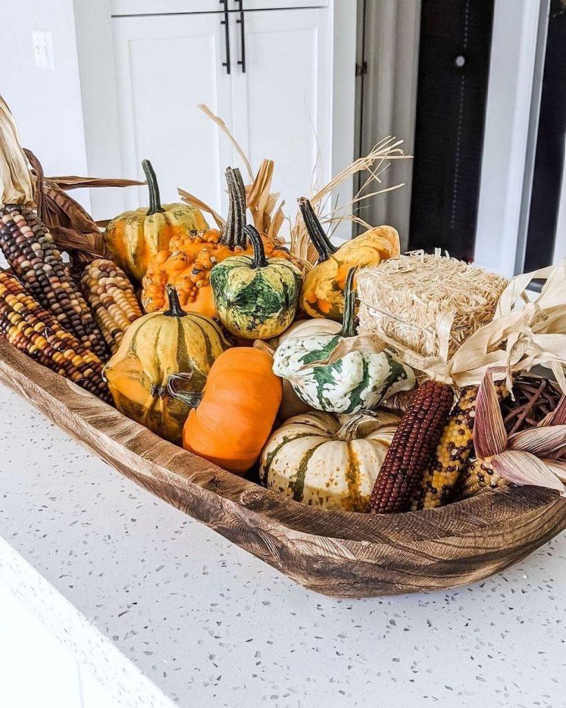 In 8 #Fall #HomeDecor #WoodenDoughBowls #DoughBowls #FallCenterpiece #AutumnDecor
