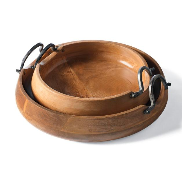 Market Trays, Set of Two #Fall #HomeDecor #WoodenDoughBowls #DoughBowls #FallCenterpiece #AutumnDecor